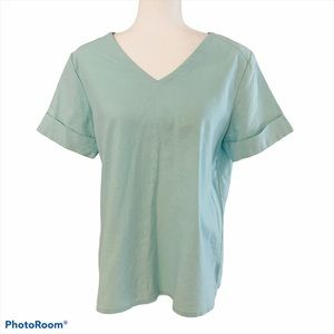 Symple NYC Linen Short Sleeve Top Turquoise Small